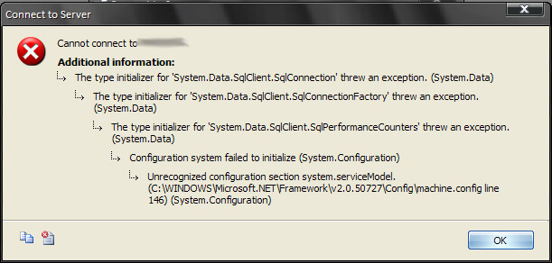 [fixed] SQL Server Management Studio – Unrecognized configuration section system.serviceModel