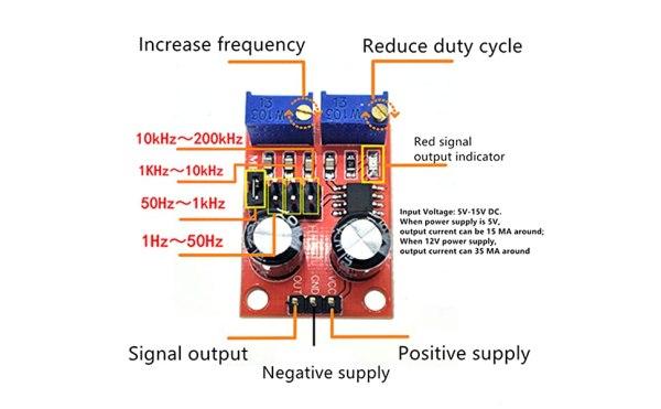 NE555 Frequency Adjustable Pulse Signal Generator Module