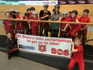 Pupils and staff from St Blanes PS, Blantyre help Nil By Mouth founder Cara Henderson promote the 'Champions for Change' programme at the Sir Chris Hoy Velodrome