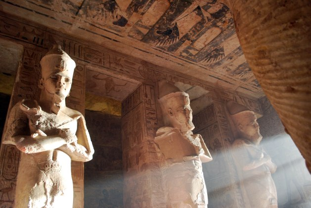 Statues of Ramesses II in Osireian fashion from the Great            Hypostyle Hall at Abu Simbel