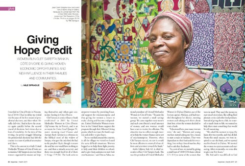 Giving Hope Credit – Response magazine, March 2011