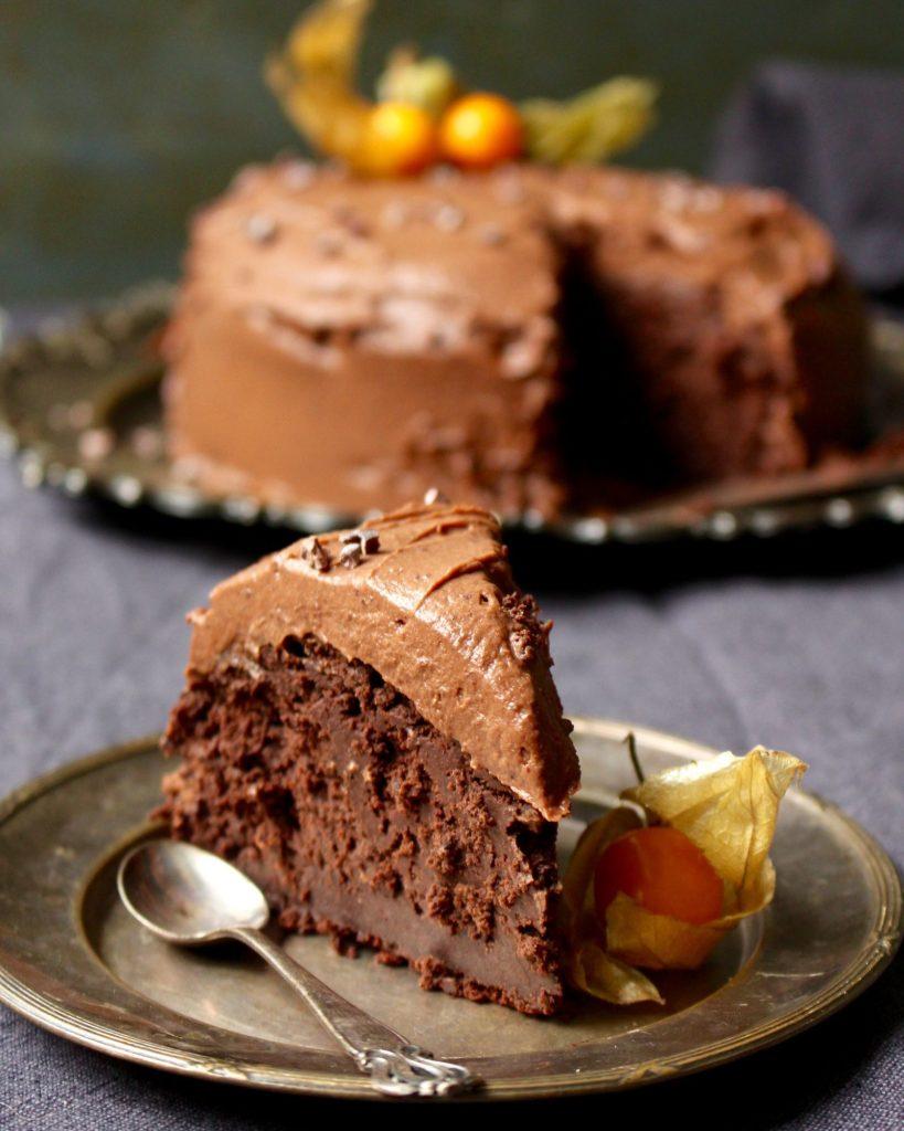 fransk chokladtårta med glasyr