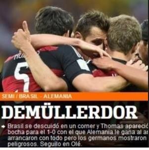 Jornal Olé, da Argentina, exalta Thomas Müller durante o jogo entre Alemanha e Brasil: