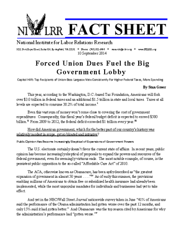 2014_NILRR_Fact_Sheet- Forced_Union_Due_ Fuel_ Big_Government_Page_1