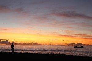 coucher de soleil île de Pâques