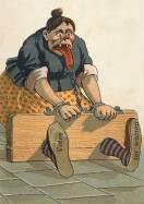 קריקטורה אנטי-סופרג'יסטית - שנת 1913 - על האמצעים להשתקת נשים שמפרות את הסדר החברתי.