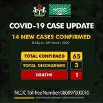 Nigerian Govt confirms 14 fresh cases of coronavirus,  total cases now 65