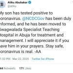 """My son has tested positive for coronavirus"" - Atiku Abubakar"