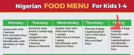 Nigerian food for 1 year old baby & food timetable for toddlers in Nigeria