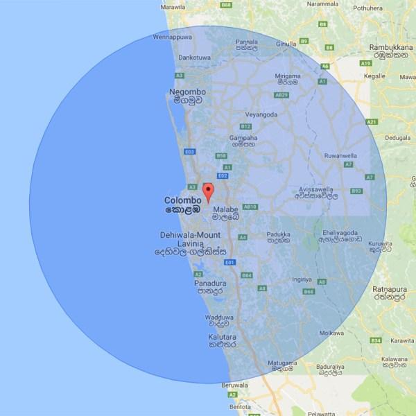50km radius NIMH Sri Lanka