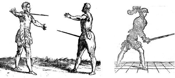 Gardes large et basse de Di Grassi contre Coda longa e stretta de Marozzo