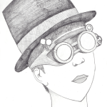 Steampunk Profile - Hat and Goggles with loops