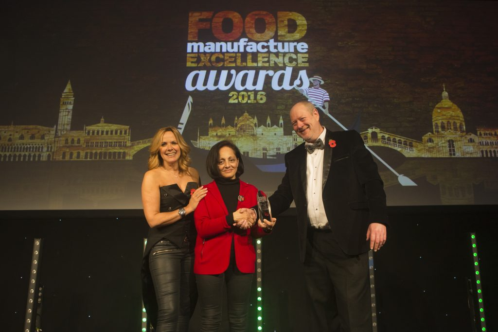 Nimisha Raja founder of Nim's Fruit Crisps accepting SME Innovation of the Year 2016 award at Food manufacture excellence awards