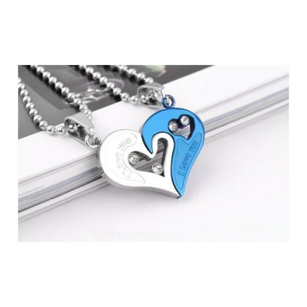 1 Pair Couple Pendant I Love You Heart Unisex Lovers Necklace Chain 4