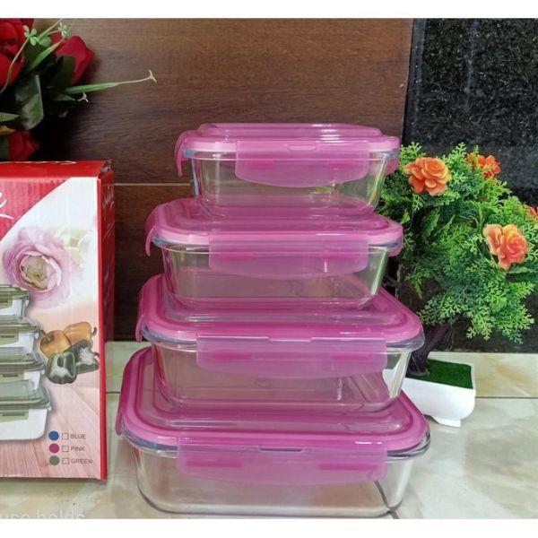 4PCS-Borosilicate-Glass-Food-Storage-Containers-with-Snap-Locking-Plastic-Lid-2