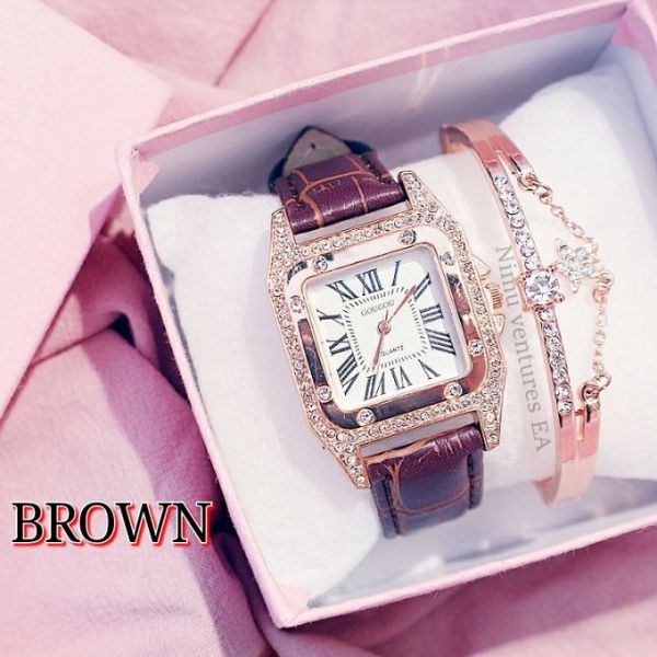 Women Watches Leather Band Quartz Watches Casual Geneva Lady Watch Ladies with Bracelet gold brown