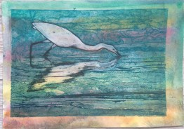egret collagraph 7