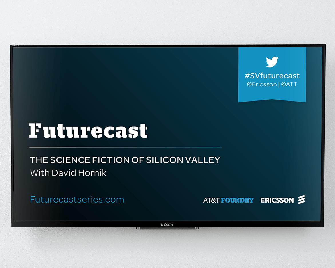 Futurecast new digital poster after rebranding UX mockup in TV