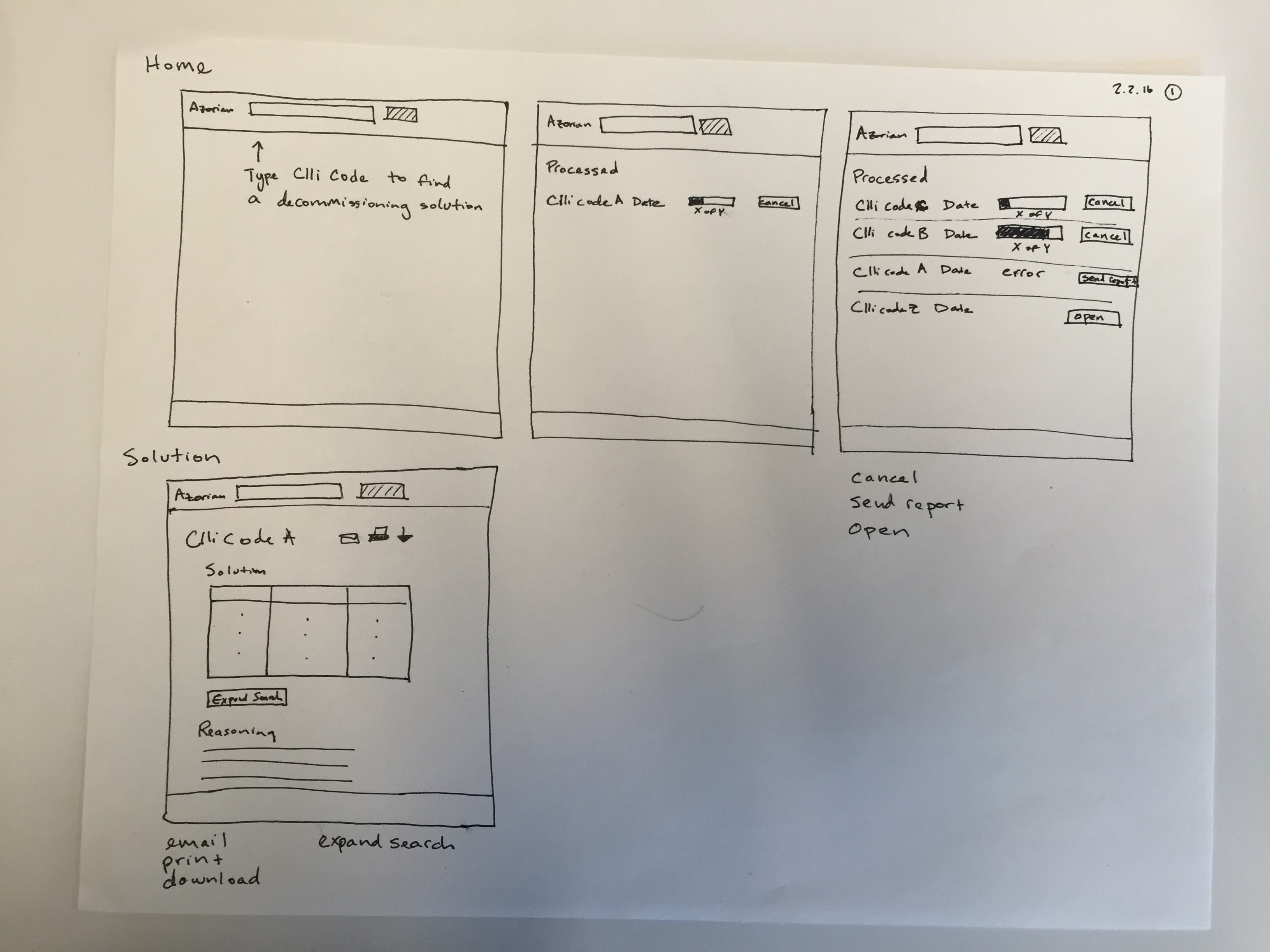 Hand drawn pen and paper mockup of AT&T Legacy Network Machine Decommissioning Tool
