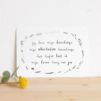 ninamaakt kaart 'lievelings' (gedichtje)