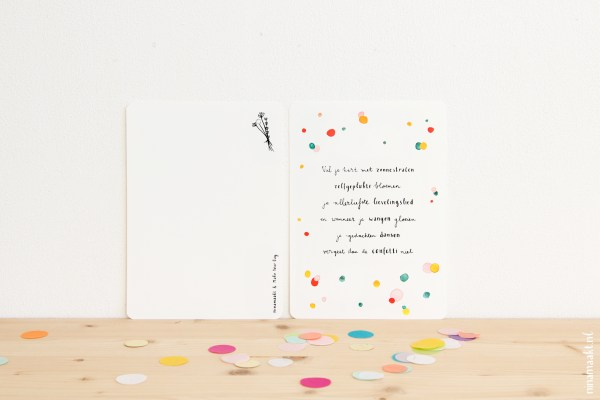 ninamaakt kaart postcard melle bouwhuis make your day confetti gedichtje