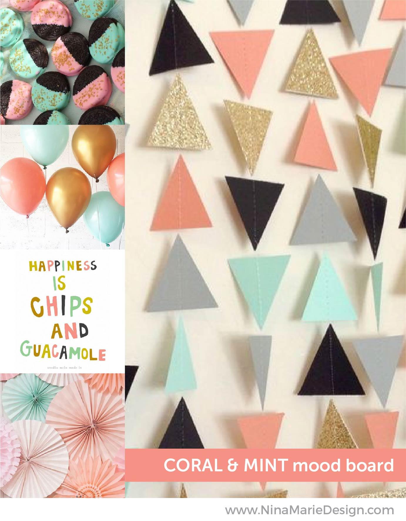 Coral and Mint Mood Board   Nina-Marie Design