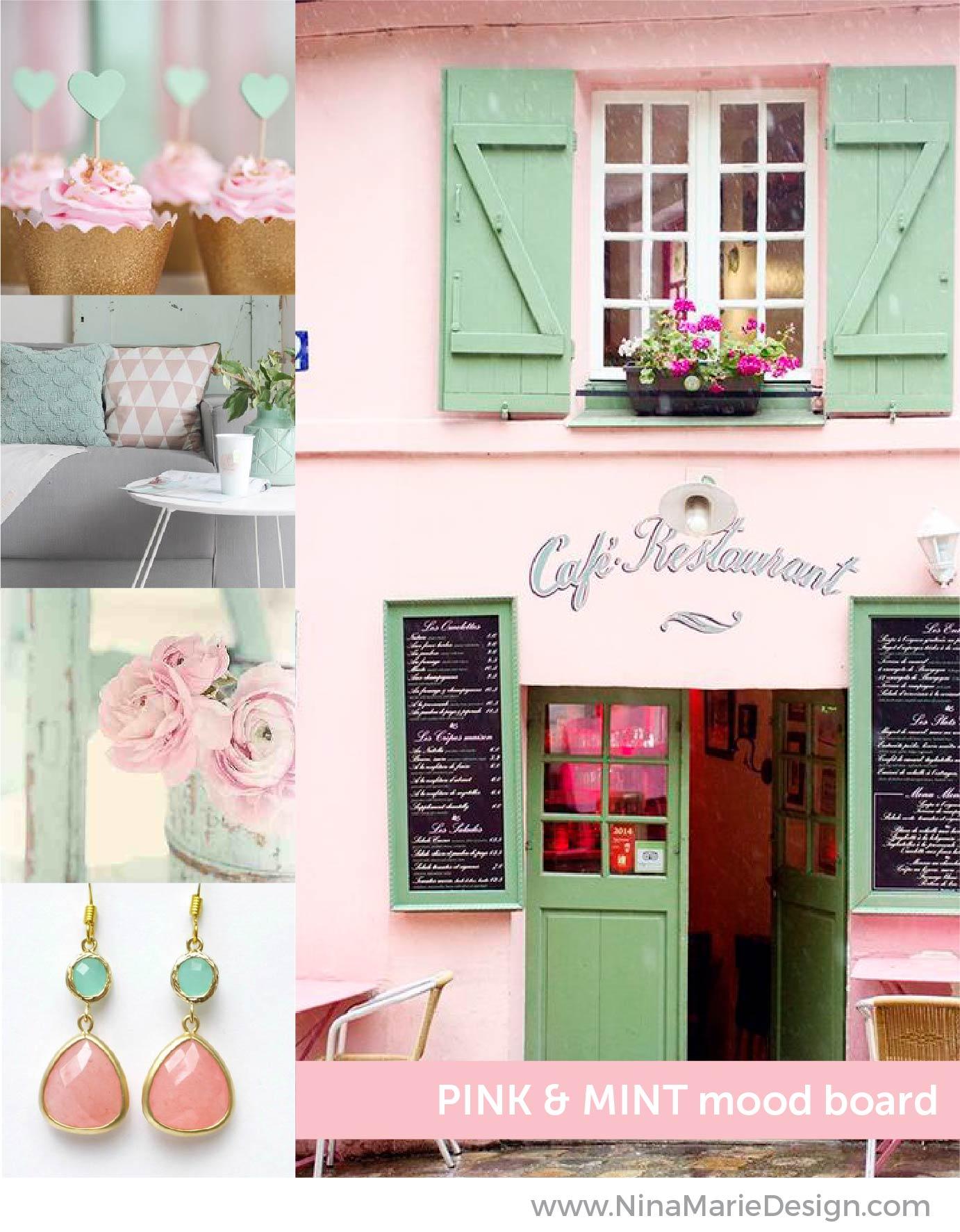 Pink and Mint Mood Board   Nina-Marie Design