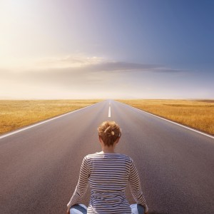 Meditation and relaxation on an empty road