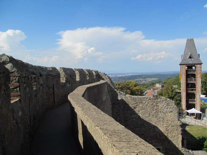 Atop the castle walls