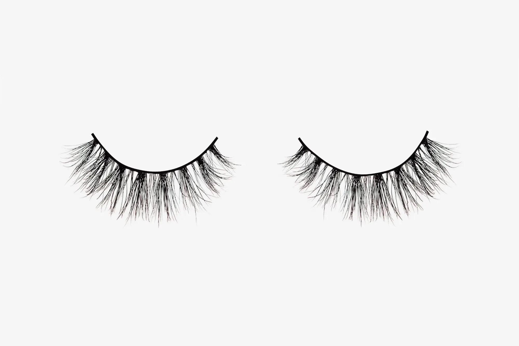 Nina Mink Lashes, two false eyelashes side by side on grey background