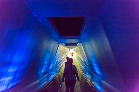 Heading out of Space Mountain. I love the lighting in this tunnel on the way back out.