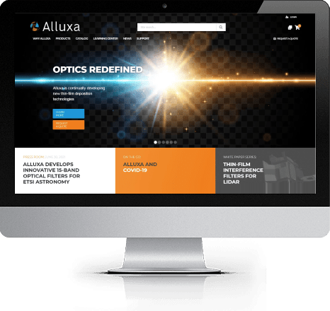 Alluxa Home Page on iMac
