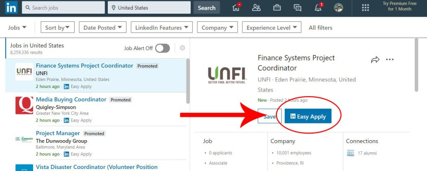 "Arrow pointing to the ""Easy Apply"" button on the selected LinkedIn Job listing."