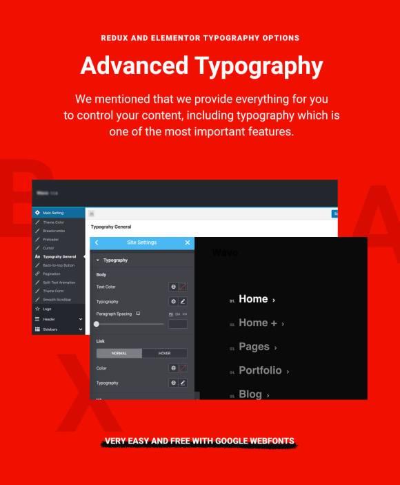 wixi Theme WordPress Elementor Typography