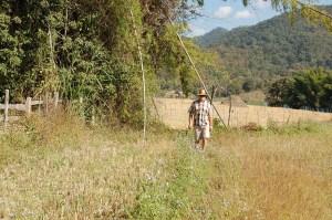 The Man strolling in the warm Thai sunshine