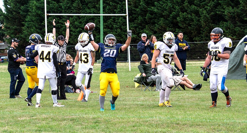 Tom Davis celebrates Dreadnoughts sixth touchdown