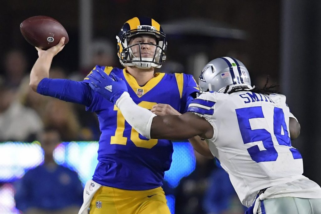 Jared Goff in action against the Cowboys last season