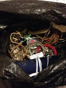Jewelry that was tossed.