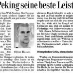 Hasler zeigte in Peking seine beste Leistung und verlor - Oliver Hasler
