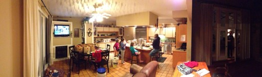 Panoramic shot of the kitchen in full on apple mode.