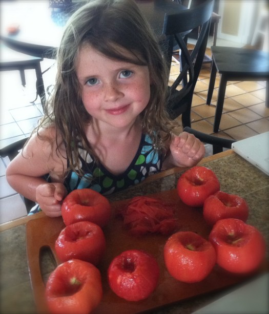 The Princess working with tomatoes