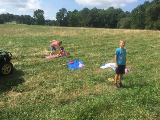 Kids having a picnic in the pasture