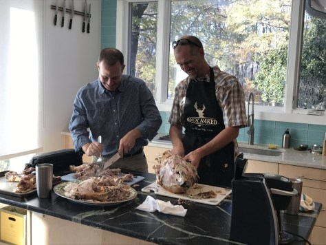 Dave and Dan carving the turkey