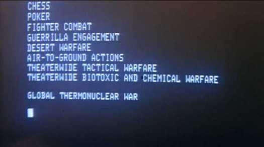 Wargames menu selection