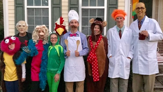 Families dressed up as muppets
