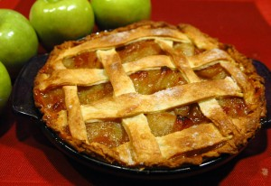 An apple pie with a lattice crust