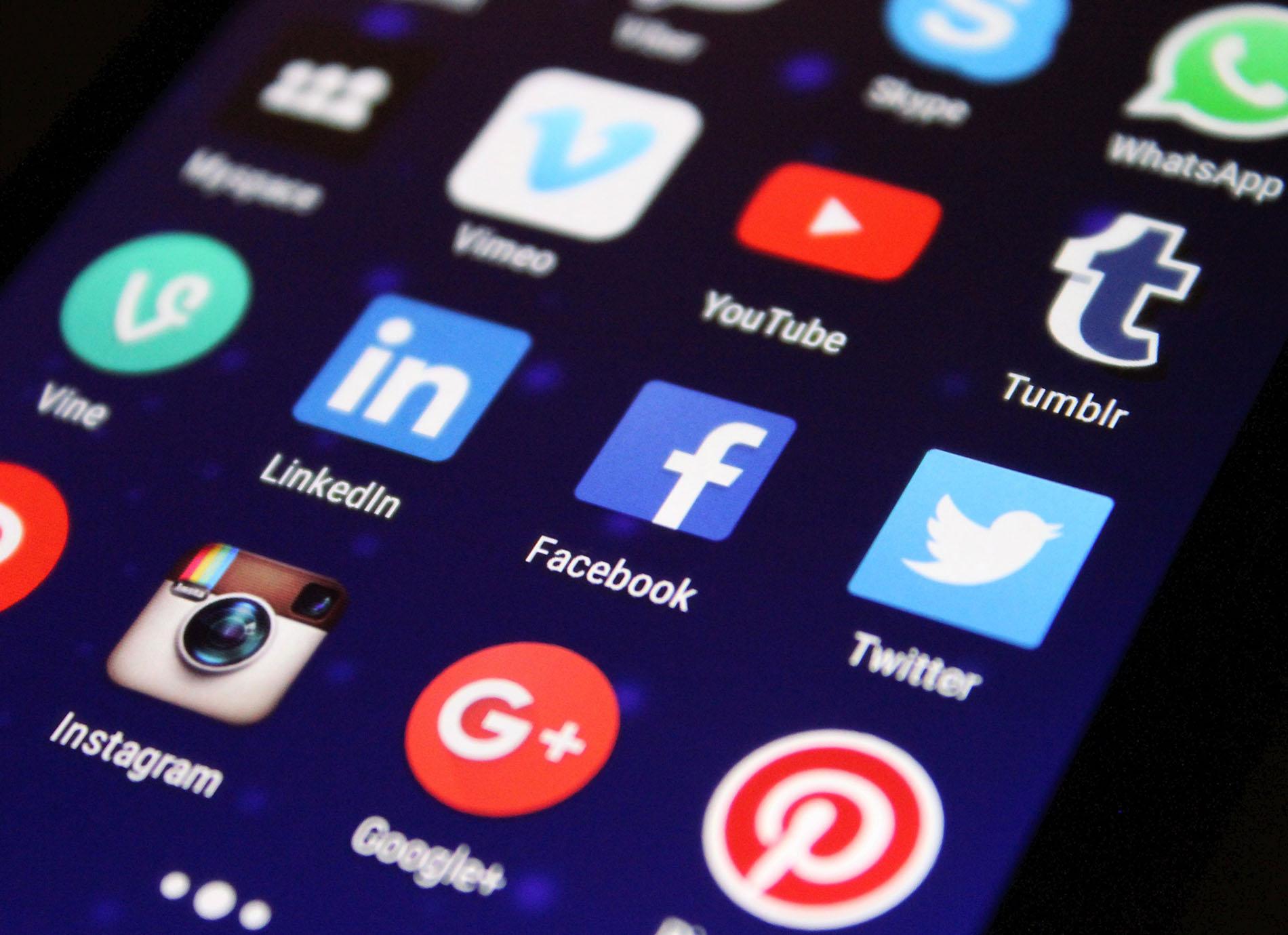 Social media icons on a cellphone
