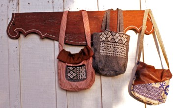Handmade totes, using vintage fabircs and leather