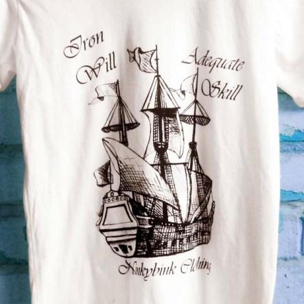 Hand Drawn Screen Printed Ship tee