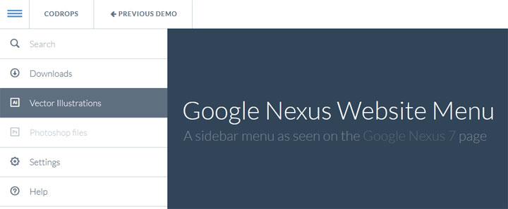 GoogleNexusWebsiteMenu-jquery-plugin